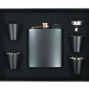 6 oz. Matte Black Flask Set in Black Presentation Box Thumbnail