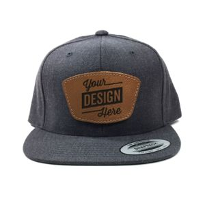 Yupoong Classic Snapback & Leather Patch Bundle - Laser Engraved Thumbnail