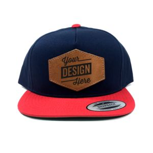 Yupoong 5 Panel Leather Patch Cotton Twill 2-Tone Snapback Bundle - Laser Engraved - Your Logo Thumbnail