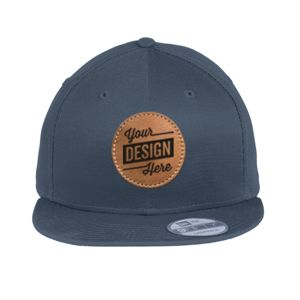 Flat Bill Snapback Cap & Leather Patch - Laser Engraved Thumbnail
