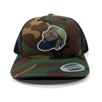 Flexfit Retro Yupoong Camo Trucker Hat & Leather Patch Bundle - Full Color Patch - Your Logo Thumbnail