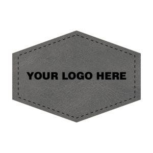3.5 x 2.5 Leather Hexagon Patch - Laser Engraved Thumbnail