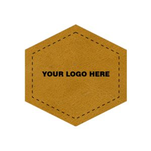 2.5 x 2.5 Leather Hexagon Patch - Laser Engraved Thumbnail