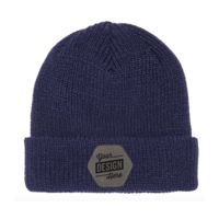 Flexfit Ribbed Cuff Knit Beanie & Leather Patch Bundle - Your Logo Thumbnail